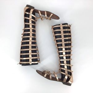A. Giannetti Rose Gold Flat Gladiator Sandals, 40